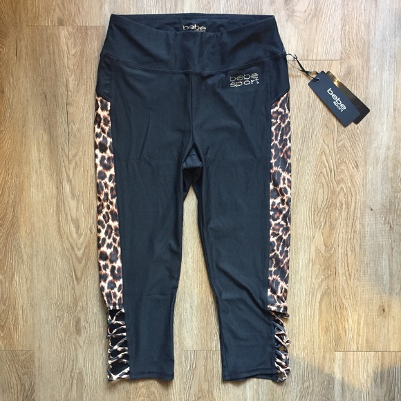 86242f0699508 bebe Pants | Sport Bling Logo Cheetah Leopard Capri | Poshmark